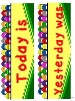 Crayon Themed Calendar Pack