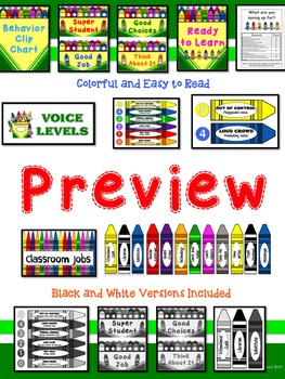 Crayon Themed Clip Chart, Voice Level, and Class Jobs Pack