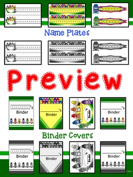 Crayon Themed Desk Name Plates and Binder Covers