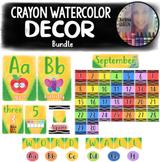 Crayon Watercolor Classroom Decor