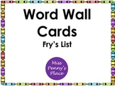 Crayon Word Wall - Fry's List
