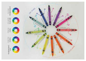 Crayon colour theory mini-book (color wheel, color theory, color harmony)