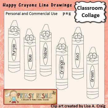 Crayon digital stamps line drawing  personal & commercial use Primsy Resale