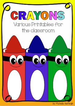 Crayon printables for learning, name id and classroom decor.