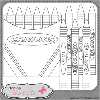 FREEBIE: Crayons 1 - Art by Leah Rae Clip Art & B&W