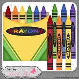 Crayons 1 - Art by Leah Rae Clip Art & B&W