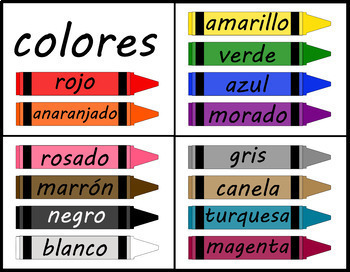 Crayons - 14 Colors - Labeled in Spanish