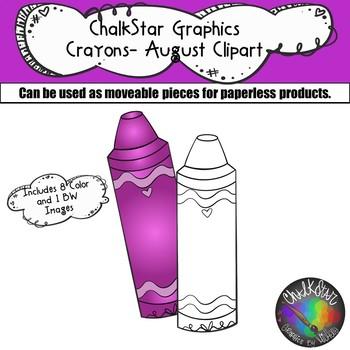 Crayons August Clip Art –Chalkstar Graphics