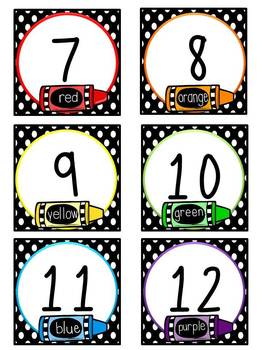 Crayons Calendar Numbers