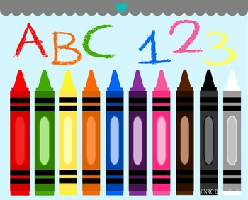 Crayons alphabet numbers clipart commercial use