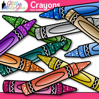 Crayon Clip Art {Rainbow Glitter Back to School Supplies for Teachers}