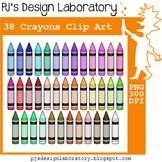 Crayons Clip Art (38 colors)