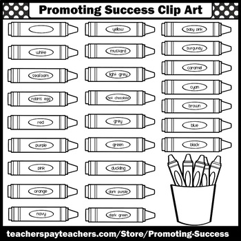 Crayons Clip Art, Colors Clipart, Back to School Reading Commercial Use SPS