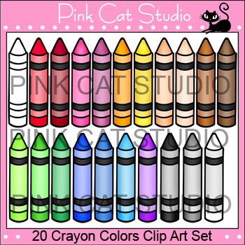 Crayons Clip Art Set - 20 Colors - Personal & Commercial Use