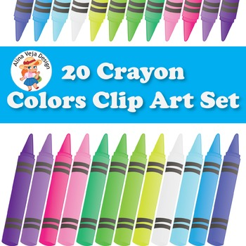Crayons Clip Art Set, for Personal & Commercial Use, 20 Colors