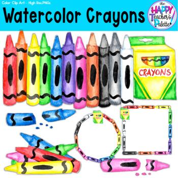 HTP Clip Art Crayons Watercolor {The Happy Teacher's Palette}