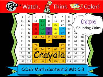 120 Chart Crayons Counting Coins Practice - Watch, Think, Color Mystery Pictures