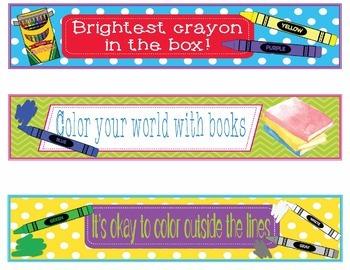 Crayons Crayola Bookmarks, Shelf Markers or Desk Name Plates - EDITABLE