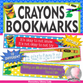 Crayons Crayola Growth Mindset Bookmarks Shelf Markers Desk Name Plates-EDITABLE