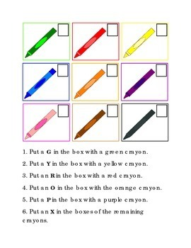 Crayons Following Directions Comprehension Emergent Reader Printable Literacy