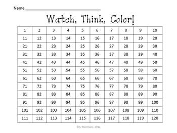 Crayons Hundreds Chart to 120 - Watch, Think, Color Mystery Pictures