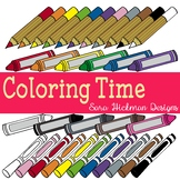 Crayons, Markers and Colored Pencils Clipart