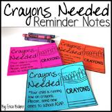 Crayons Needed Reminder Note {FREEBIE}