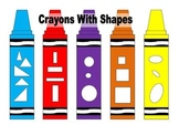 Crayons Template With Shapes - 1 page