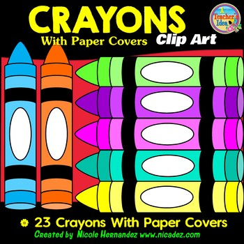 Crayons With Paper Covers Clip Art for Teachers