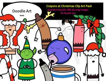 Crayons at Christmas Clip Art Pack