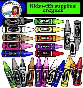 Crayons clip art set1. Color and B&W