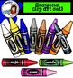Crayons clip art set1. Color and B&W