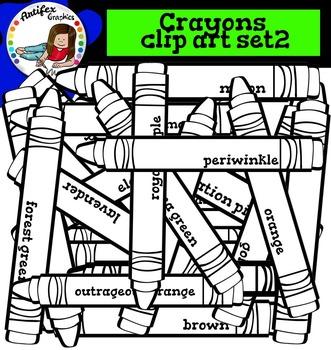 Crayons clip art set2. Color and B&W