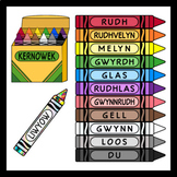 Crayons in Cornish / Cornish Language Colors (High Resolution)