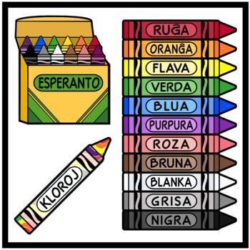 Crayons in Esperanto/ Colors in Esperanto