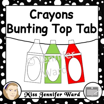 Crayons with Hanging Tab Clipart
