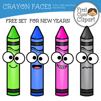 Crayons with faces Clip Art