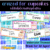 Crazed for Cupcakes Watercolor Editable Nameplates