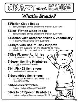 Crazy About Reading January- NO PREP ELA Essentials