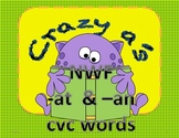 Crazy A's  NWF  -at and -an CVC word game  (Common Core)