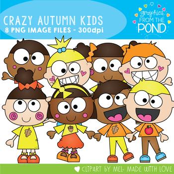 Crazy Autumn / Fall Kids Clipart
