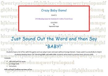 Crazy Baby Game  CVC Beginning Reading