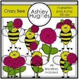 Crazy Bee Clipart {A Hughes Design}