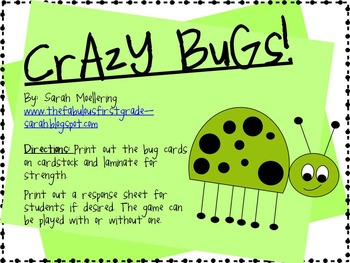 Crazy Bugs Sight Word Game (All Dolch Words Combo Pack)