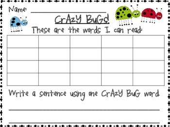Crazy Bugs Sight Word Game (Dolch 1st Grade)