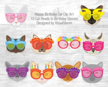 Birthday Cat Clip Art - 10 Hand Drawn Fun Cats Wearing Glasses, For Cat Lovers