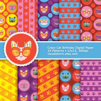Birthday Cat Digital Paper, 10 Colorful Cats, Stripes and Paw Prints Patterns
