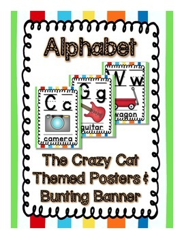 Crazy Cat (Primary Color) Theme Alphabet Posters and Bunting Banners