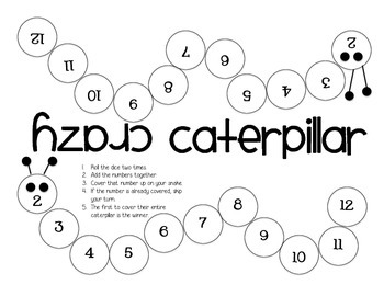 Crazy Caterpillar Addition Game