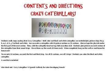 Crazy Caterpillars - A Speech Craftivity for Early Developing Sounds